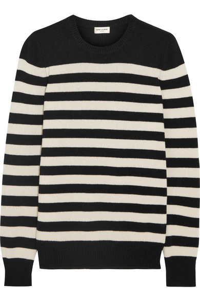 Saint Laurent - Striped Cashmere Sweater - Black