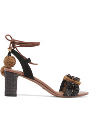 Suede and raffia-trimmed embellished leather sandals