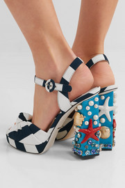 Dolce & Gabbana Embellished striped canvas sandals