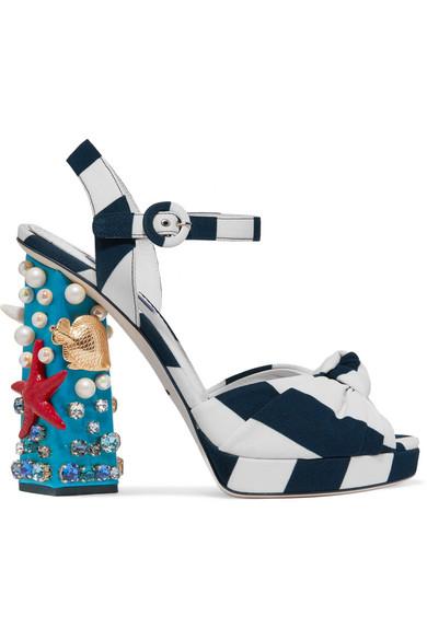 Dolce & Gabbana - Embellished Striped Canvas Sandals - Navy