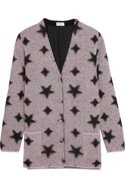 Saint Laurent Metallic intarsia mohair-blend cardigan
