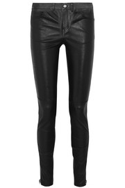 Zip-detailed leather skinny pants
