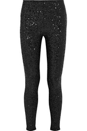 Sequined stretch-jersey leggings