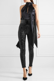 Saint Laurent Sequined stretch-jersey leggings