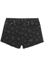 Cut-off printed stretch-denim shorts