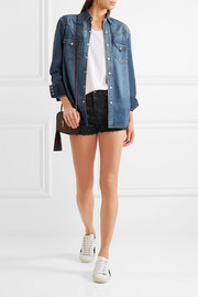 Saint Laurent Cut-off printed stretch-denim shorts