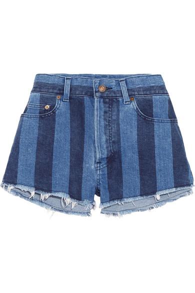 Cut-off striped stretch-denim shorts