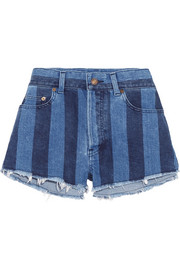 Cut-off striped stretch-denim shorts