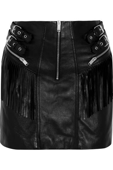Saint Laurent - Fringed Leather Mini Skirt - Black