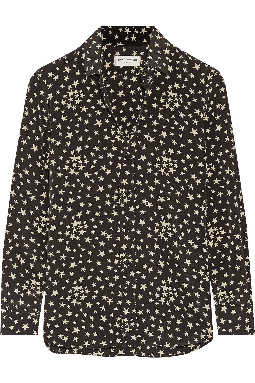SAINT LAURENT Printed silk crepe de chine shirt