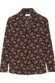 Saint Laurent Floral-print silk crepe de chine shirt