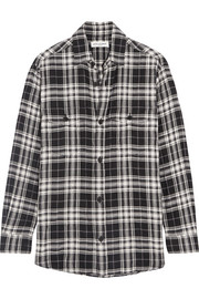 Plaid brushed stretch-cotton shirt