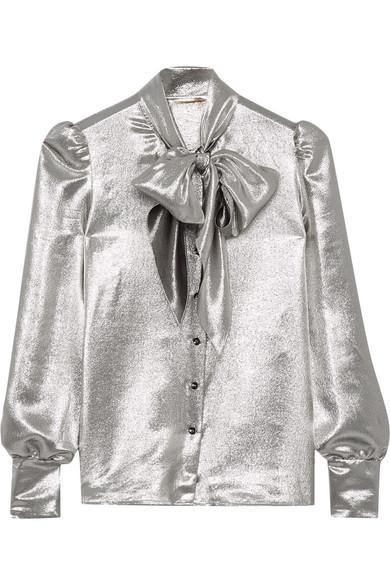 Saint Laurent - Pussy-bow Silk-blend Lamé Blouse - Silver