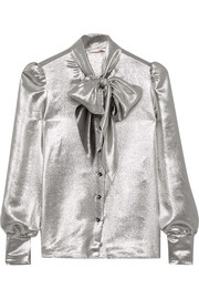 Saint Laurent Pussy-bow silk-blend lamé blouse