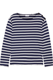 Saint Laurent Button-detailed striped cotton-jersey top