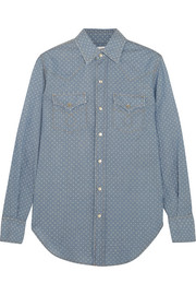 Saint Laurent Polka-dot cotton-chambray shirt