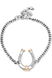 Alexander McQueen Ruthenium and gold-plated Swarovski pearl bracelet