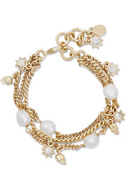 Alexander McQueen Gold-plated, pearl and crystal bracelet