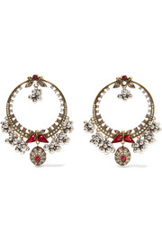 Alexander McQueen Gold-plated, Swarovski crystal and faux pearl earrings