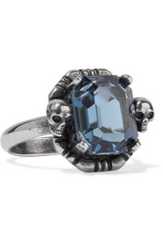 Ruthenium-tone Swarovski crystal ring