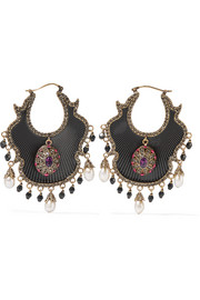 Alexander McQueen Gold-plated, enamel, Swarovski crystal and pearl earrings