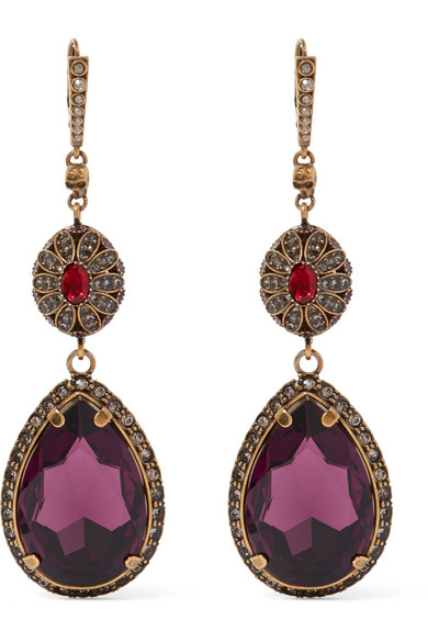 Alexander McQueen - Gold-plated Swarovski Crystal Earrings - one size