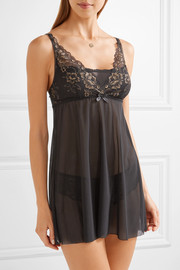 Hanky Panky Rose d'Or metallic lace-trimmed stretch-tulle chemise