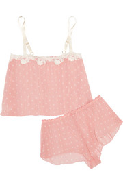 Darlington lace-trimmed polka-dot chiffon pajama set