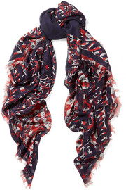 Printed silk and modal-blend chiffon scarf