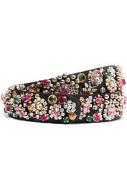 Alexander McQueen Embellished silk-satin belt