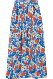 Printed silk-seersucker maxi skirt