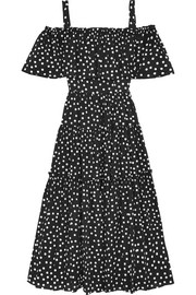 Off-the-shoulder polka-dot cotton-blend dress