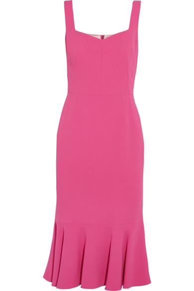 Dolce & Gabbana - Ruffled Stretch-crepe Midi Dress - Fuchsia
