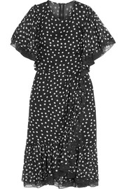 Lace-trimmed polka-dot silk-blend chiffon dress
