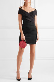 Ruched off-the-shoulder stretch-jersey mini dress