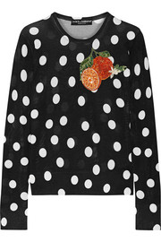 Dolce & Gabbana Appliquéd polka-dot silk sweater