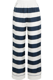 Striped silk-twill high-rise pants