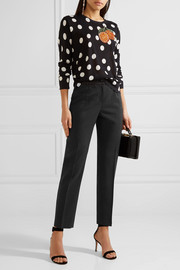 Polka-dot wool slim-leg pants