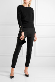 Satin-trimmed stretch wool and silk-blend leggings