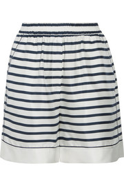 Striped silk-twill shorts