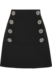 Embellished wool-blend mini skirt