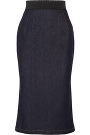 Dolce & Gabbana Fluted stretch-denim pencil skirt