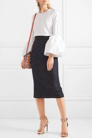Fluted stretch-denim pencil skirt