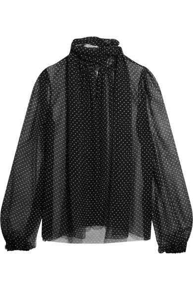 Dolce & Gabbana - Pussy-bow Polka-dot Silk-chiffon Blouse - Black
