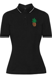 Dolce & Gabbana Appliquéd cotton-piqué polo shirt