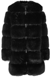 Givenchy Mesh-trimmed faux fur coat