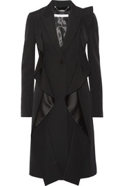 Givenchy Ruffled satin-paneled grain de poudre wool coat