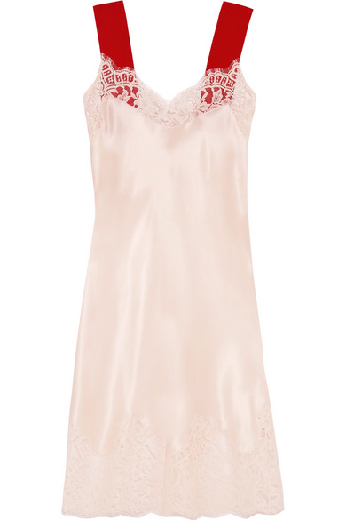 Givenchy - Lace-trimmed Silk-satin Dress - Blush