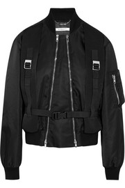 Canvas-trimmed shell bomber jacket