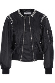 Crystal-embellished shell bomber jacket